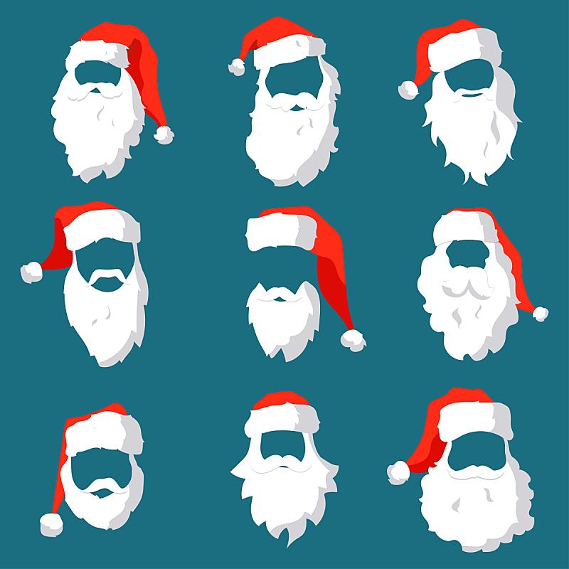 络腮胡子,圣诞老人,性格,人的脸部,矢量,四元素,帽子,庆祝,剪影