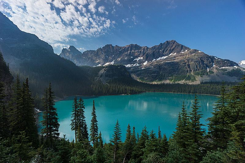 奥哈拉湖,水,美,洛矶山脉,水平画幅,高视角,户外,湖,淡水,山