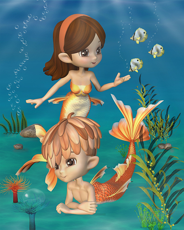 金鱼,可爱的,纽卡素,男人鱼,美人鱼,人鱼,海葵,海藻灰,束发带,橙色