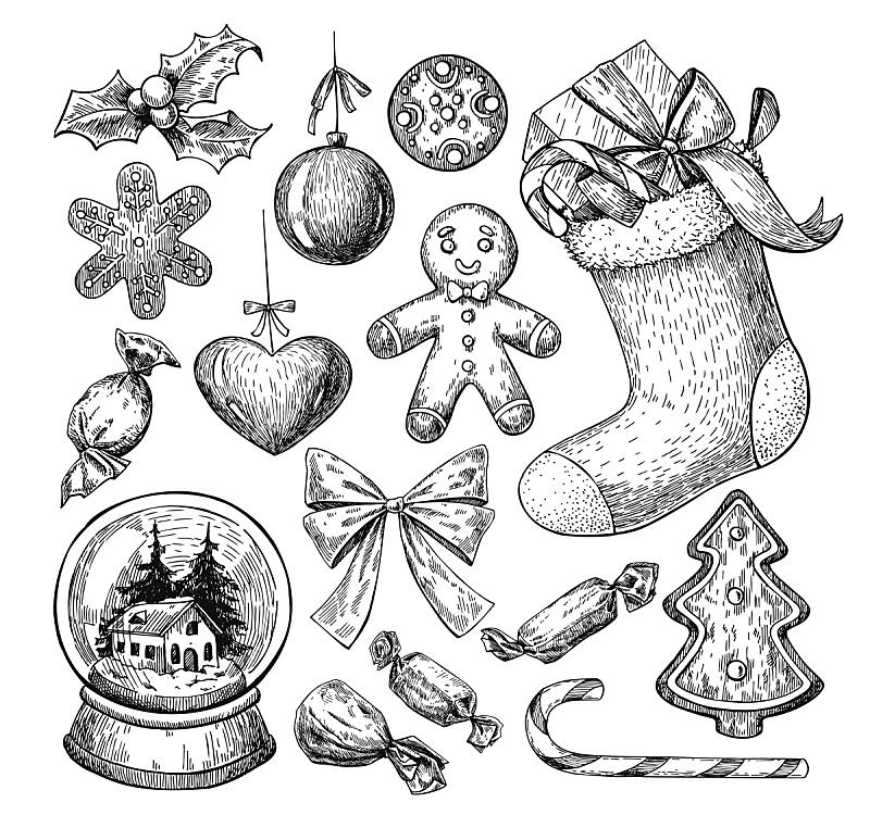 绘画插图,符号,矢量,动物手,一个物体,雕刻图像,蚀刻版画,姜饼蛋糕,草图