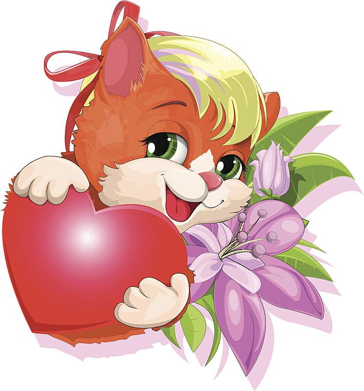 小猫,美,贺卡,绘画插图,美人,性格,卡通,明信片,庆祝