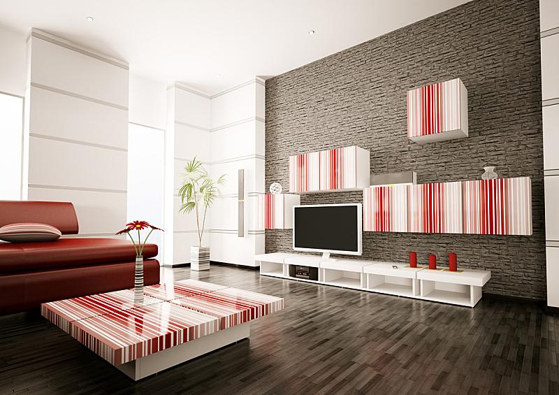 现代,室内,起居室,三维图形,座位,水平画幅,墙,无人,砖墙,家具