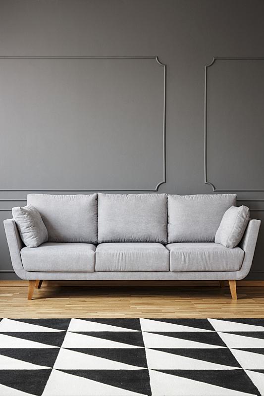 沙发,地毯,灰色,室内,起居室,极简构图,前面,黑白图片,留白,摄影