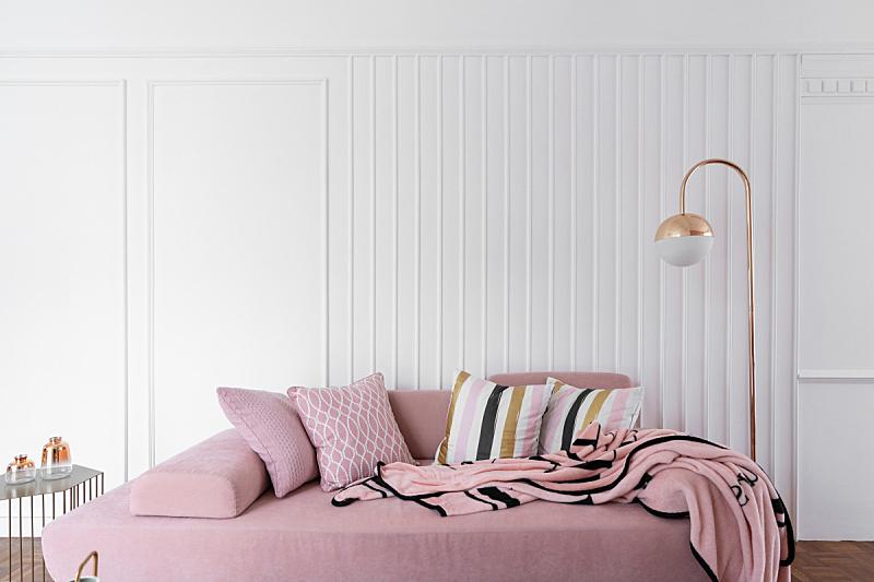 灵感,沙发,现代,时尚,白色,黄金,粉色,舒服,室内,天鹅绒