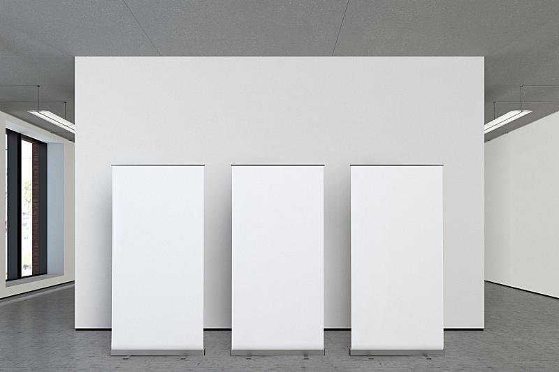 空白的,正下方视角,展架,画廊的开幕式,三个物体,正面视角,留白,边框,艺术