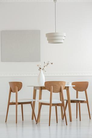 棉,简单,白色,花瓶,单色调,住宅房间,圆形,餐桌,花
