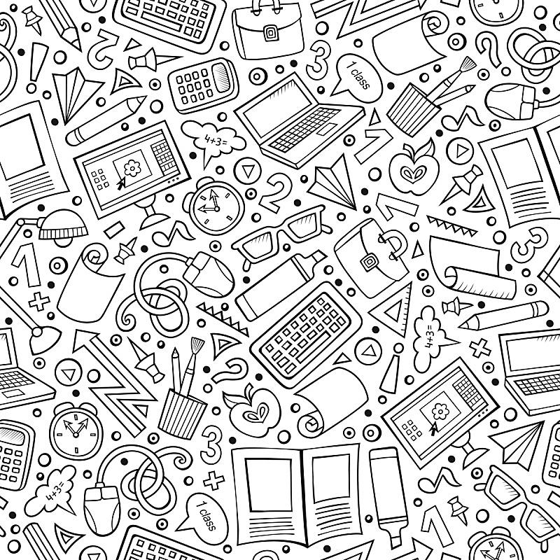卡通,可爱的,四方连续纹样,举起手,学校用品,乱画,鼠标,重返校园,绘画插图,灯