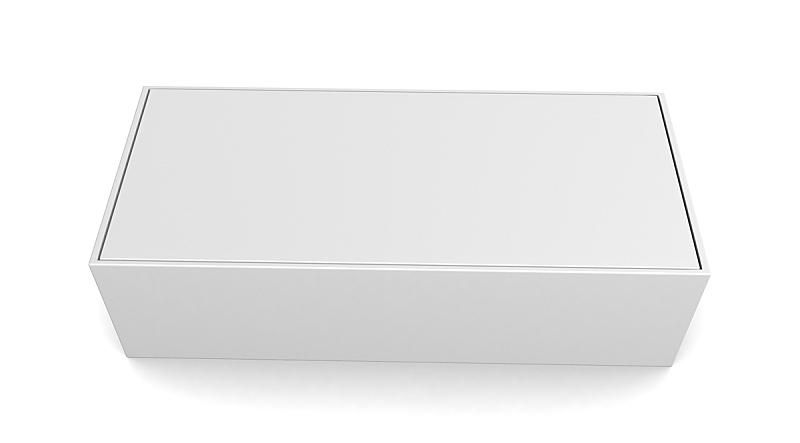 Realistic white box isolated on white background
