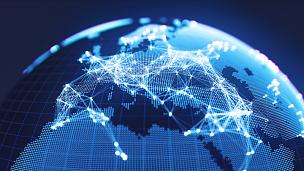 欧洲,全球通讯,地球形,抽象,蓝色,计算机网络,地球,行星,铁丝网