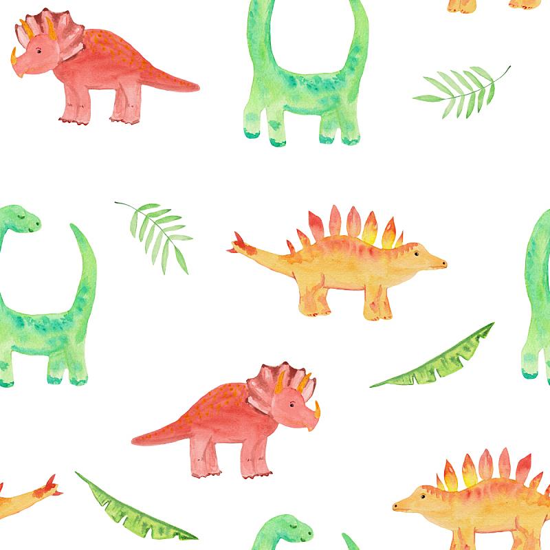 可爱的,四方连续纹样,绘画插图,恐龙,式样,鸡尾酒,水彩画,梁龙,肱二头肌,请柬