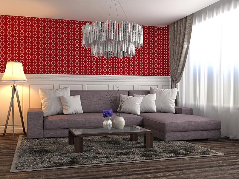 沙发,室内,绘画插图,三维图形,住宅房间,褐色,水平画幅,无人,装饰物,家具