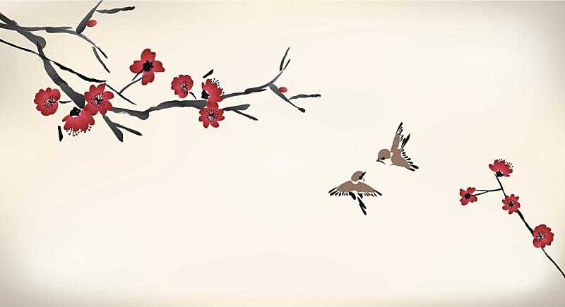 花朵,绘画作品,鸟类,绘画艺术品,樱花,李子,墨水,枝,水彩颜料,樱桃