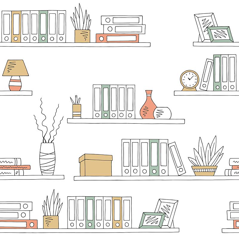 四方连续纹样,背景,草图,绘画插图,办公室,矢量,彩色图片,插画,架子,华丽的