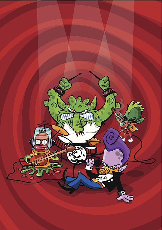 外星人,乐队,朋克,皮茄克,彩色背景,骑士茄克,红色背景,紫色的头发,皮革,性能组