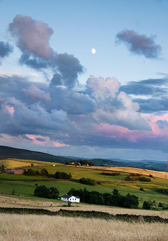 月亮,地形,房屋,ashton,垂直画幅,天空,山,无人,英格兰,夏天