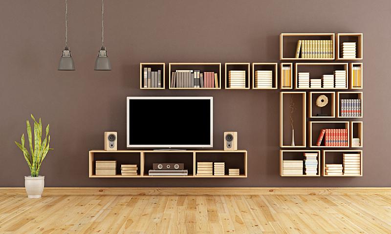 褐色,起居室,电视机,水平画幅,墙,无人,组物体,家具,白人,现代
