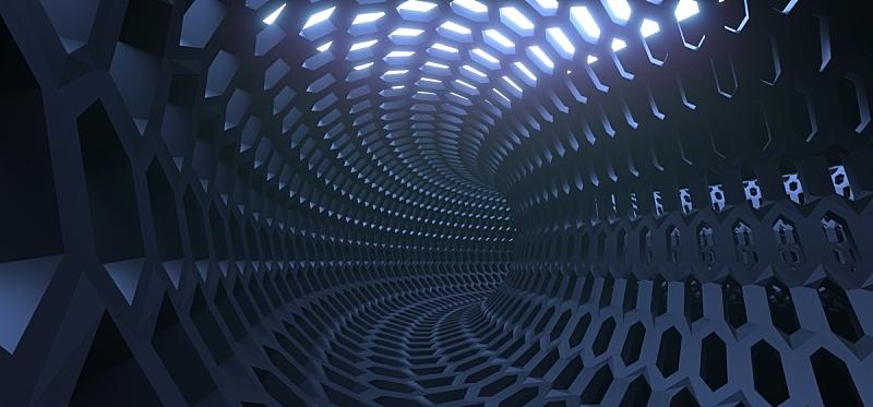 格子,六边形,隧道,铁丝网,抽象,混沌,未来,边框,水平画幅,形状