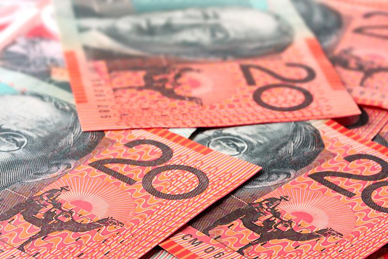澳元,储蓄,水平画幅,无人,金融,澳大利亚文明,白色背景,异国情调,背景分离,红色