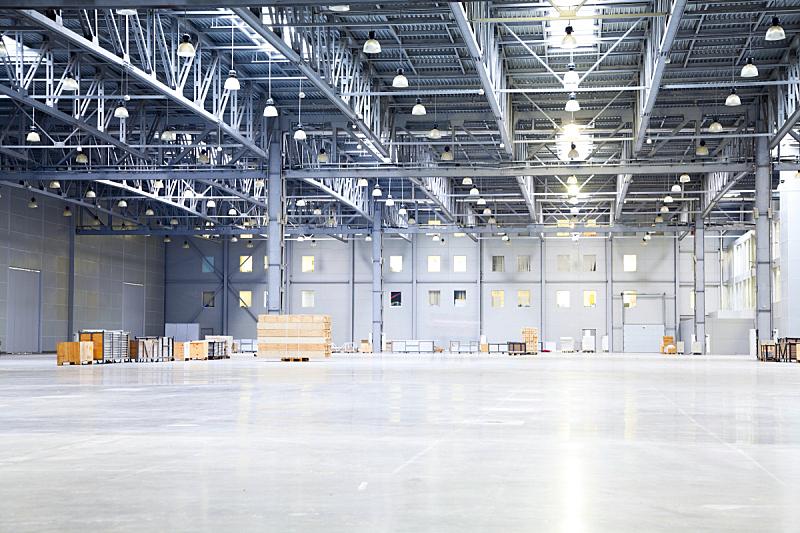 仓库,现代,空的,住宅房间,大型商场,飞机库,屋顶横梁,正面视角,新的,器材箱