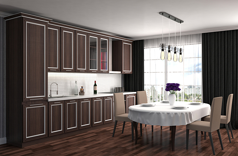 室内,三维图形,绘画插图,厨房,窗户,住宅房间,褐色,水平画幅,形状,建筑