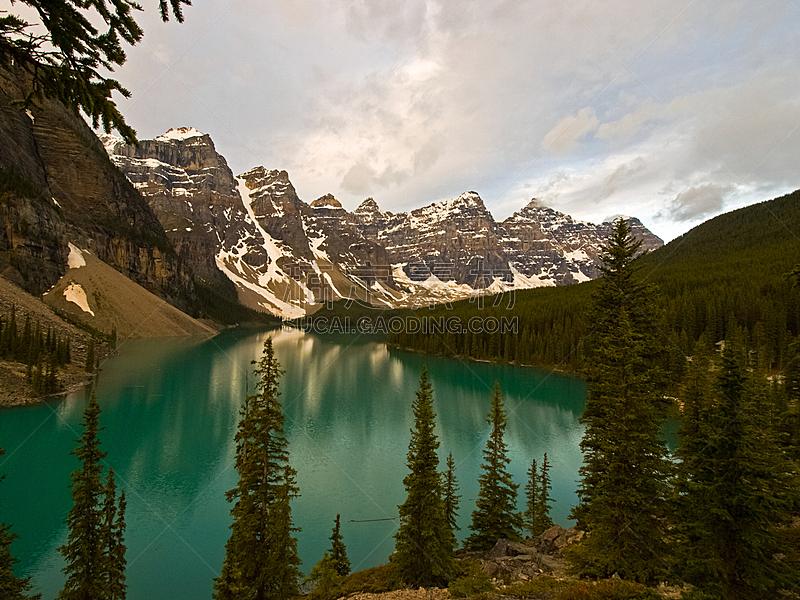 加拿大,湖,山脉,自然,干净,船,国内著名景点,旅途,云,顶部