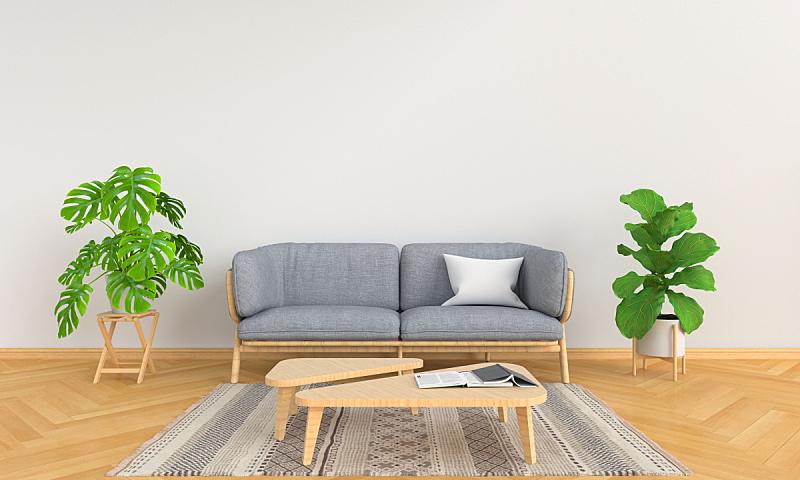 灰色,沙发,植物,三维图形,白色,起居室,斯堪的纳维亚半岛,空的,花盆,泰国