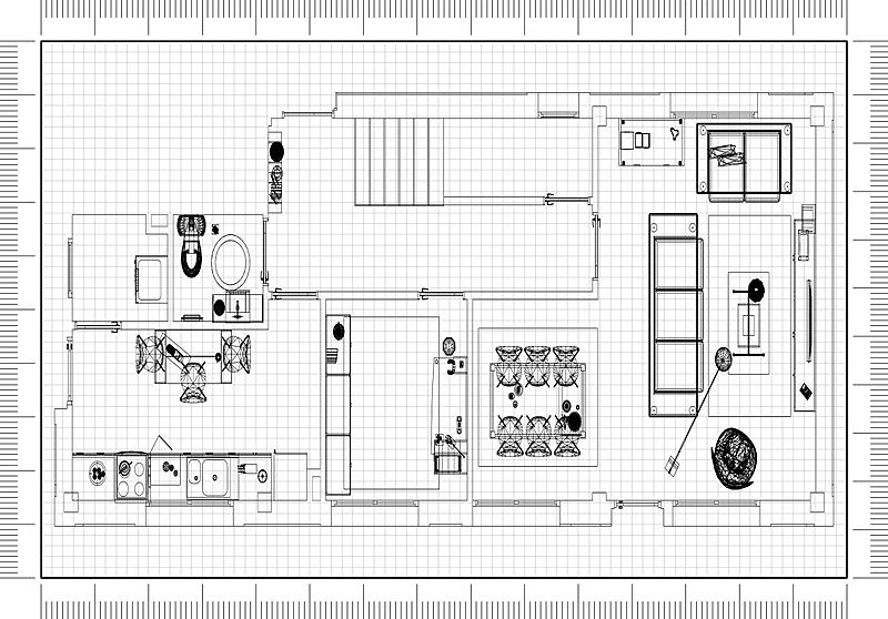 蓝图,现代,公寓,建筑师,砖,舒服,地板,椅子,沙发,建筑业