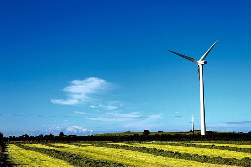 风轮机,天空,风,水平画幅,风力,无人,蓝色,户外,北爱尔兰,田地
