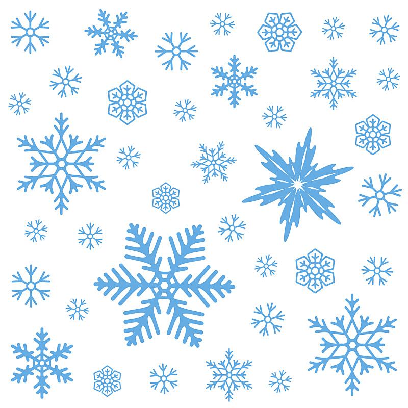 雪花,四方连续纹样,绘画插图,冬天,矢量,白色背景,对称,一个物体,天气,华丽的