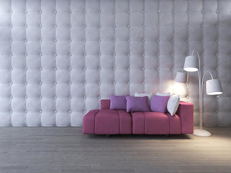 沙发,三维图形,粉色,室内设计师,起居室,美,水平画幅,形状,墙,木材