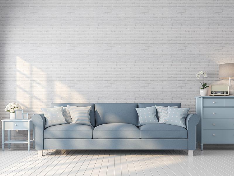 三维图形,白色,砖墙,起居室,斯堪的纳维亚半岛,华贵,砖,舒服,厚木板,地板
