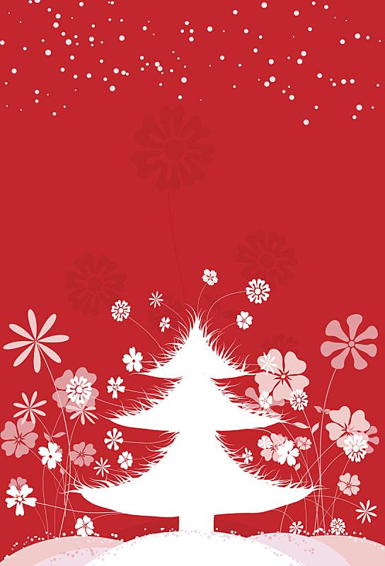 背景,垂直画幅,绘画插图,贺卡,寒冷,雪,无人,圣诞树,仅一朵花