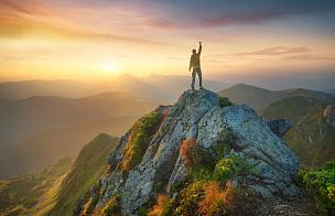 高大的,旅行者,运动,岩石,动作,概念,生活方式,高个子,山顶,极限运动