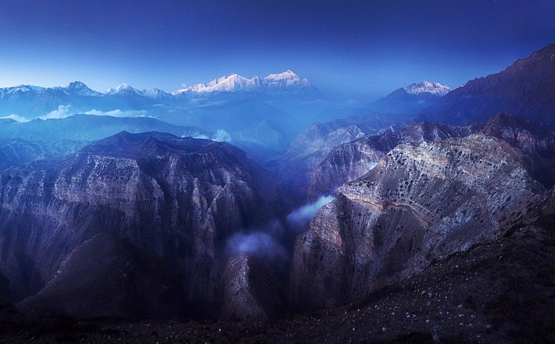 全景,峡谷,早晨,暗色,山脊,尼泊尔,雪,背景,户外,天空
