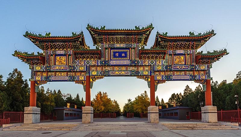 拱门,地坛公园,近景,水平画幅,建筑,旅行者,户外,红色,北京,雕塑
