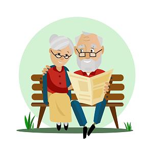 长椅,老年伴侣,派克大街,绘画插图,古老的,性格,户外,卡通,男性,仅成年人