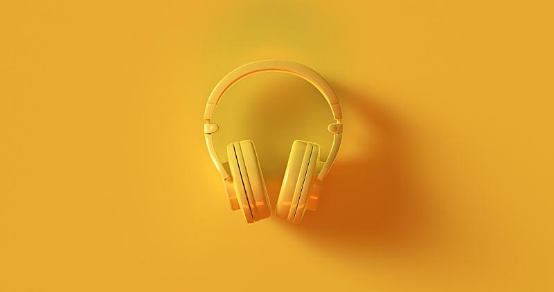 耳机,黄色,水平画幅,高视角,无人,色彩鲜艳,古典式,时尚,背景分离,干净