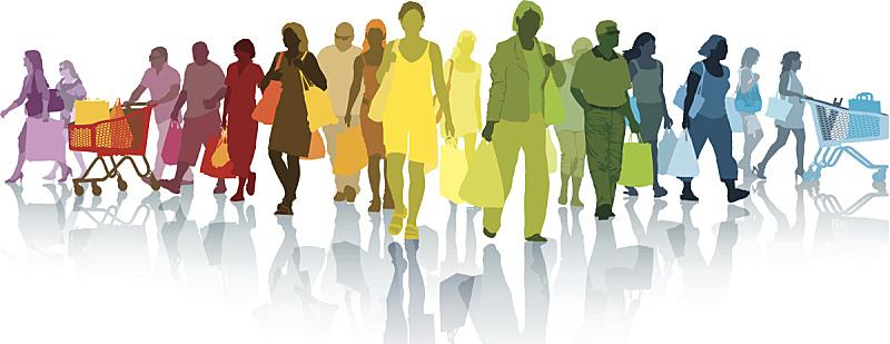 人,顾客,超级市场,群众,青少年,新的,绘画插图,购物车,商店,夏天
