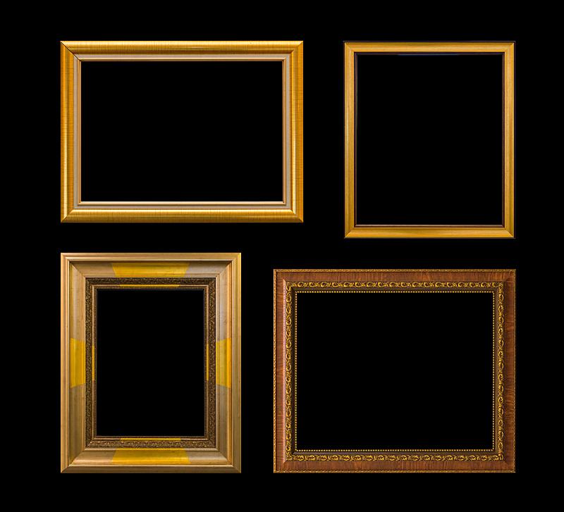 建筑结构,黄金,高雅,黑色背景,分离着色,空白的,留白,水平画幅,形状,木制