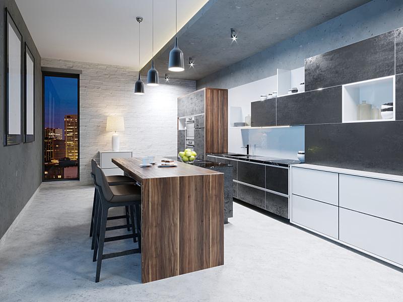 钢铁,华贵,现代,豪宅,厨房,用具,室内,明亮,不锈钢,新的
