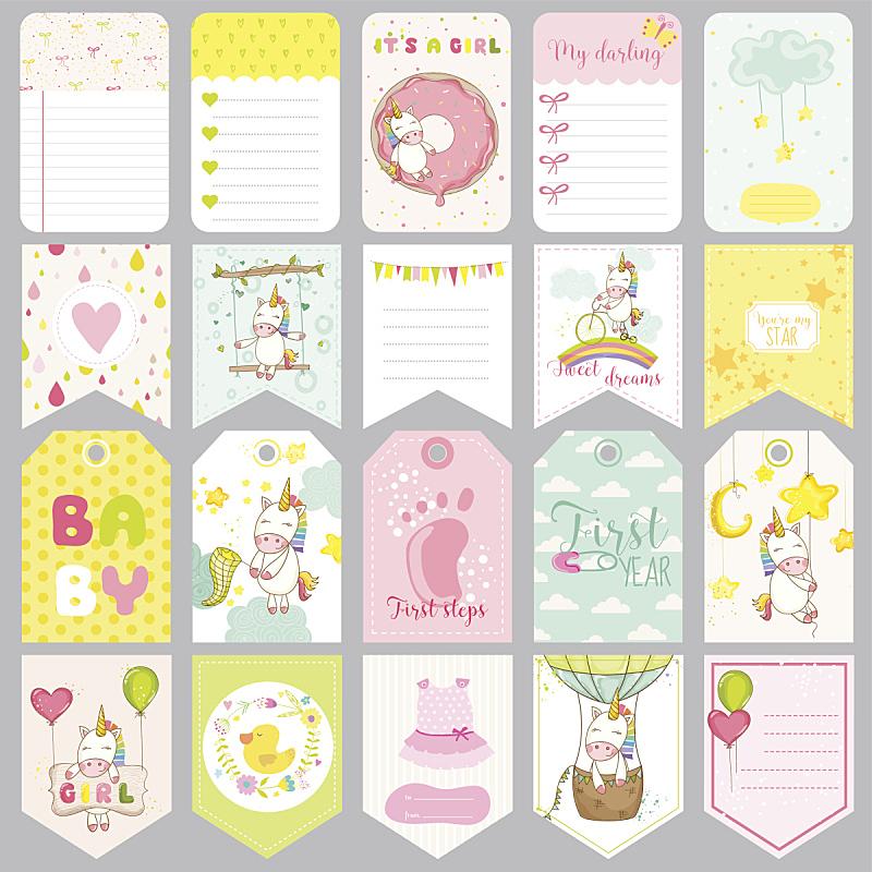 独角兽,可爱的,贺卡,婴儿,标签,剪贴本,庆生会,女婴,请柬