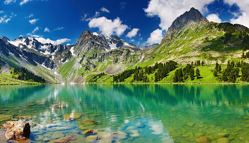 湖,山,自然,水平画幅,岩石,雪,无人,夏天,户外,山谷