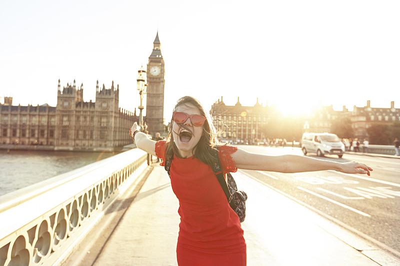 乐趣,女人,大本钟,伦敦,威斯敏斯特桥,青年人,钟塔,张开手臂,英格兰,幸福