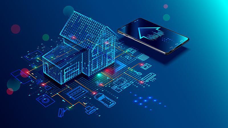智慧,概念,物联网,住房,绘画插图,家庭生活,安全,居住区,图形界面,建筑业