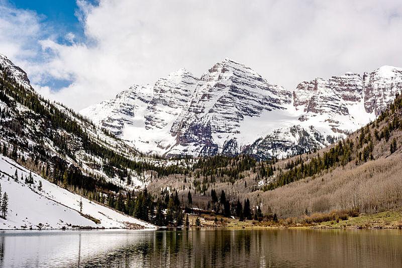 洛矶山脉,雪,玛尔露恩贝尔峰,科罗拉达湖,自然,天空,美国,水平画幅,地形,无人