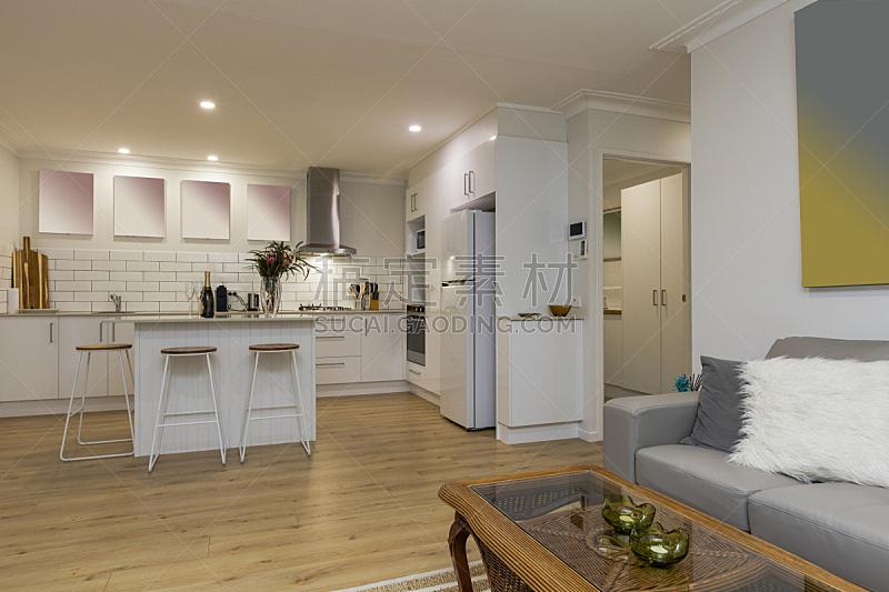 澳大利亚,厨房,室内,高雅,吧椅,冰箱,华贵,地板,炊具,洗碗机