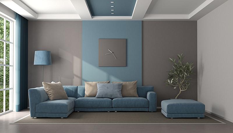 起居室,褐色,蓝色,极简构图,脚凳,窗帘,照明设备,软垫,地板,沙发