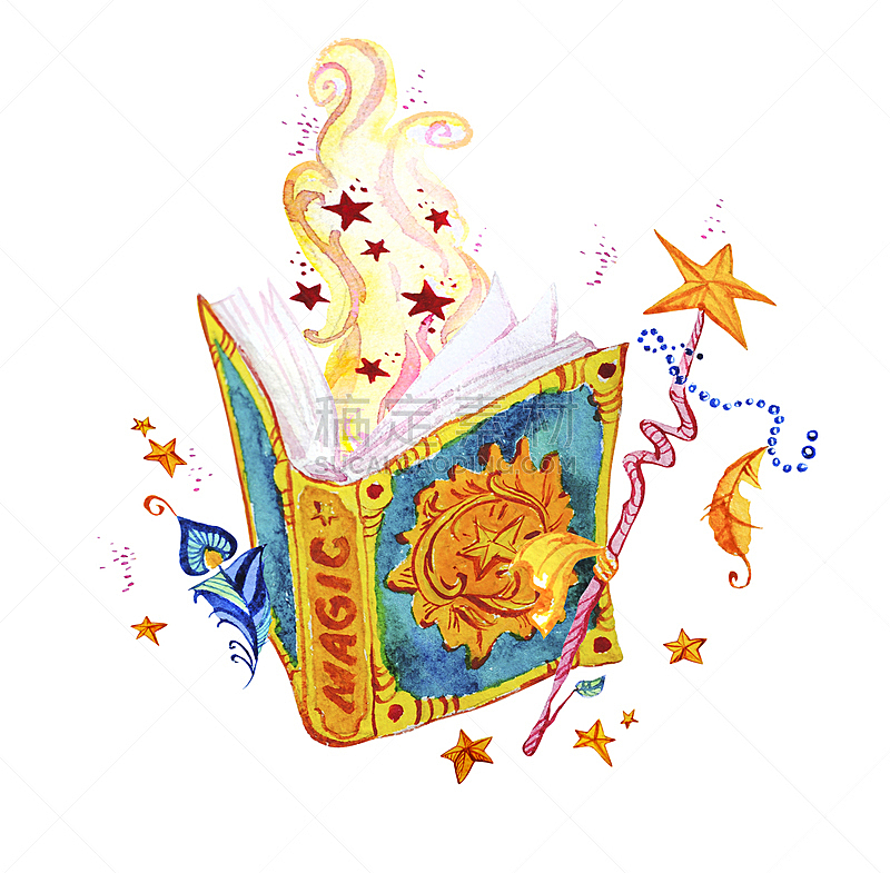 魔术师,魔杖,男巫,绘画插图,星形,书,翎毛,白色背景,手,魔法符咒