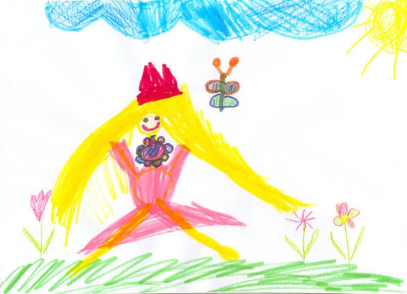 儿童,涂料,四个人,铅笔画,老年人,艺术家,水平画幅,蝴蝶,公主