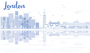 轮廓,城市天际线,伦敦,蓝色,云景,云,商业金融和工业,地名,伦敦桥,市区